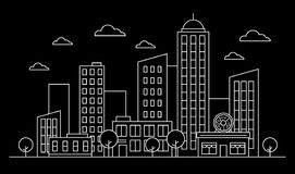Outline cityscape skyline landscape design concept with buildings, scyscrapers, donut shop cafe,trees,clouds.White contour. Vector, graphic illustration stock illustration