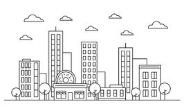 Outline cityscape skyline landscape design facade concept with buildings, scyscrapers, donut shop cafe trees, clouds. Vector. Graphic illustration. Isolated on stock illustration