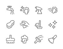 Outline Cleaning Icons vector illustration