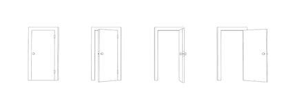 Outline closed and opened doors. Front view door vector. Stock Image