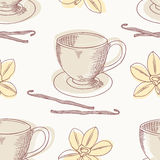 Outline coffee cup with vanilla vector seamless Royalty Free Stock Images