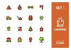 Outline color icons set in thin modern design style. Flat line stroke vector symbols - camping collection Stock Photos