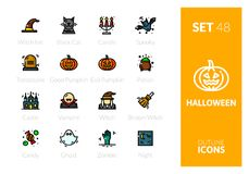Outline color icons set in thin modern design style. Flat line stroke vector symbols - halloween collection Stock Photo