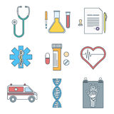 Outline color medical icons set Stock Photo