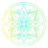 Outline colored mandala. Decorative ornament for your design. Royalty Free Stock Images