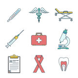 Outline colored medical icons set Royalty Free Stock Photo