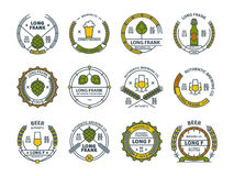 Outline colorful vector beer emblems, symbols, icons, pub labels, badges collection. Outline colorful vector beer emblems, symbols, icons, pub labels, badges Royalty Free Stock Image