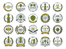 Outline colorful vector beer emblems, symbols, icons, pub labels, badges collection. Outline colorful vector beer emblems, symbols, icons, pub labels, badges Stock Photos