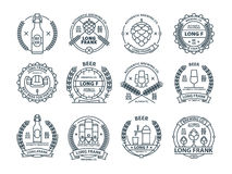 Outline colorless beer emblems, symbols, icons, pub labels, badges collection. Outline colorless beer emblems, symbols, pub labels, badges collection Stock Image