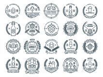 Outline colorless vector beer emblems, symbols, icons, pub labels, badges collection. Outline colorless vector beer emblems, symbols, icons, pub labels, badges Royalty Free Stock Image