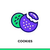 Outline COOKIES icon. Vector pictogram suitable for print, websi. Vector pictogram suitable for print, website and presentation Royalty Free Stock Photos