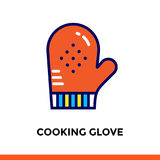 Outline COOKING GLOVE icon. Vector pictogram suitable for print, website and presentation Royalty Free Stock Photos