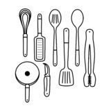 Outline cooking utensils stock illustration