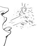 Outline of Coughing Person. Close up outline illustration sick person coughing Stock Photos