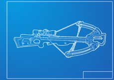 Outline crossbow. On blue background Royalty Free Stock Photos