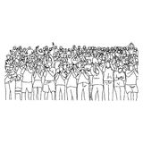 Outline crowd people on stadium vector illustration sketch hand. Drawn with black lines isolated on white background royalty free illustration