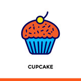 Outline CUPCAKE icon. Vector pictogram suitable for print, website and presentation Royalty Free Stock Image