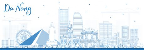 Outline Da Nang Vietnam City Skyline with Blue Buildings. Vector Illustration. Business Travel and Tourism Concept with Modern Architecture. Da Nang Cityscape Royalty Free Stock Image