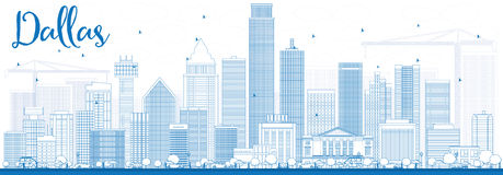 Outline Dallas Skyline with Blue Buildings. Royalty Free Stock Photography