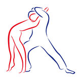 Outline of dancing couples. The outline of dancing couples Stock Image