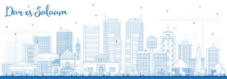 Outline Dar Es Salaam Tanzania Skyline with Blue Buildings. Royalty Free Stock Photography