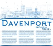 Outline Davenport Iowa Skyline with Blue Buildings and Copy Spac Royalty Free Stock Photography