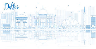 Outline Delhi skyline with blue buildings and reflections. Royalty Free Stock Image