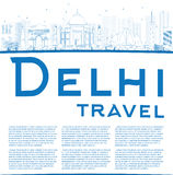 Outline Delhi skyline with blue landmarks and copy space Stock Image