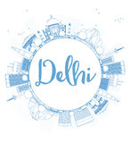 Outline Delhi skyline with blue landmarks and copy space. Stock Photography