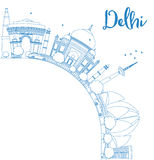 Outline Delhi skyline with blue landmarks and copy space. Stock Photos