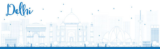 Outline Delhi skyline with blue landmarks Stock Images