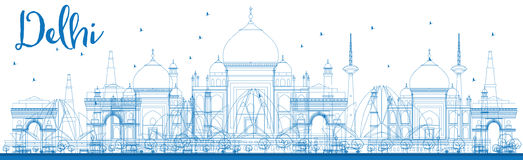 Outline Delhi skyline with blue landmarks. Stock Photos