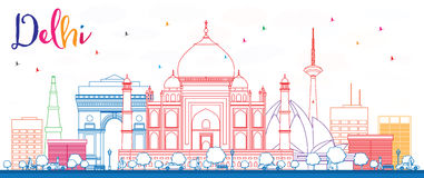 Outline Delhi Skyline with Color Buildings. Royalty Free Stock Photos