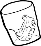 Outline of Dentures in Cup. Outine cartoon of prosthetic teeth inside drinking glass Royalty Free Stock Images