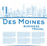 Outline Des Moines Skyline with Blue Buildings and copy space Royalty Free Stock Images