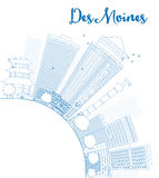 Outline Des Moines Skyline with Blue Buildings and copy space Stock Photography
