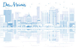 Outline Des Moines skyline with blue buildings and reflections. Royalty Free Stock Image