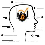 Outline design icon with human head and black linear bitcoin cry Royalty Free Stock Images