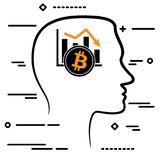 Outline Design Icon With Human Head And Black Linear Bitcoin Cry Royalty Free Stock Photo