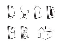 Outline desktop icons. Set of seven computer icons Royalty Free Stock Photos