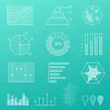 Outline diagram, thin line graphs and charts in linear style, infographic Royalty Free Stock Photography