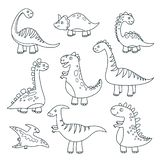 Outline dinosaurs. Cute baby dino funny monsters jurassic wildlife animals dragon funny dinosaurs vector hand drawn vector illustration