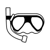 Outline diving mask tube sea beach Royalty Free Stock Images