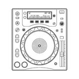 Outline dj cd player. Vector outline cd dj turntable Royalty Free Stock Images