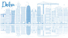 Outline Doha skyline with blue skyscrapers. Stock Images