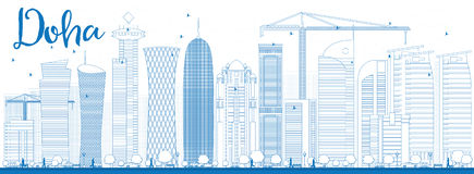 Outline Doha skyline with blue skyscrapers Royalty Free Stock Images