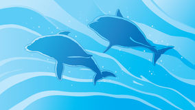 Outline dolphins. Serene outline of dolphins swimming Royalty Free Stock Images
