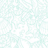 Outline doodle sea seamless pattern with starfish Stock Photo