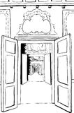 Outline of Doorways and Halls in Palace Stock Photography