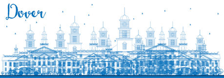 Outline Dover Skyline with Blue Buildings. Stock Image